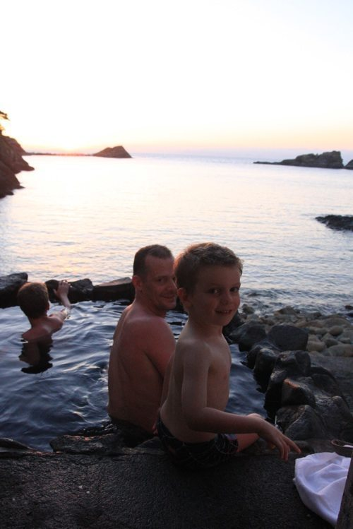 swiss family at sunset onsen